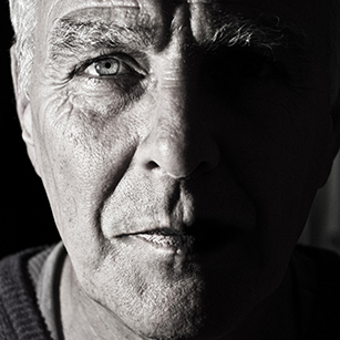 Black and white - elderly man - face - Blue Latitude Health